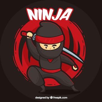Fond de guerrier ninja dessinés à la main