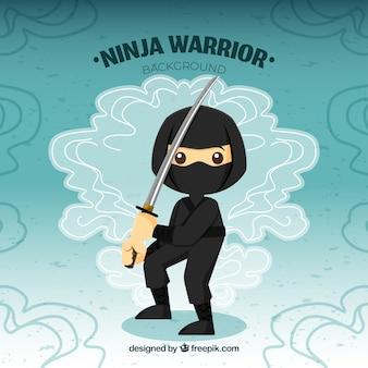 Fond de guerrier ninja traditionnel avec un design plat