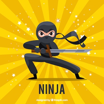 Fond de guerrier ninja traditionnel avec un design plat