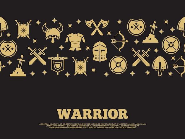 Fond de guerrier vintage avec des icônes de silhouette de chevaliers mediewal