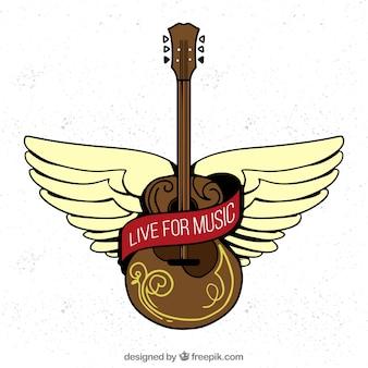 Fond avec guitare acoustique en style dessiné à la main