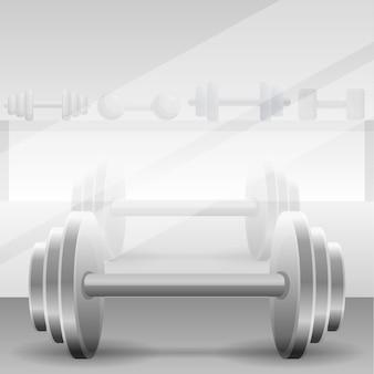 Fond de gym concept haltère métal, style cartoon