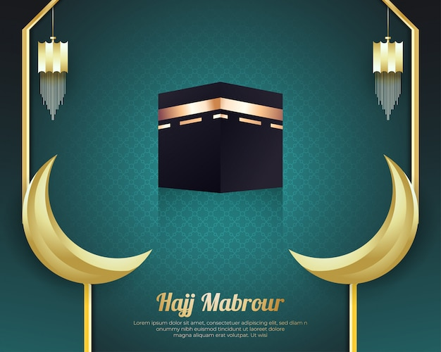 Fond de hajj mabrour avec kaaba et croissant de lune doré
