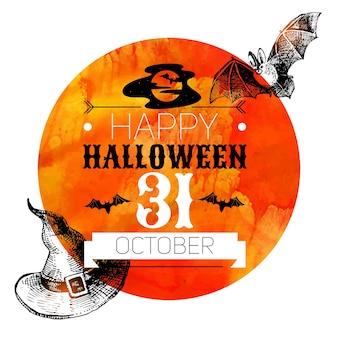 Fond d'halloween. affiche typographique. croquis dessinés à la main et illustration vectorielle aquarelle