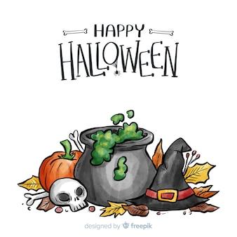 Fond de halloween aquarelle avec des éléments de sorcière