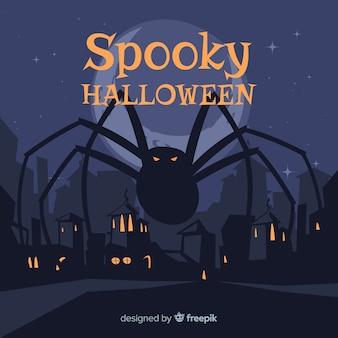 Fond d'halloween araignée géante au design plat