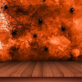Fond d'halloween avec des araignées sur fond grunge