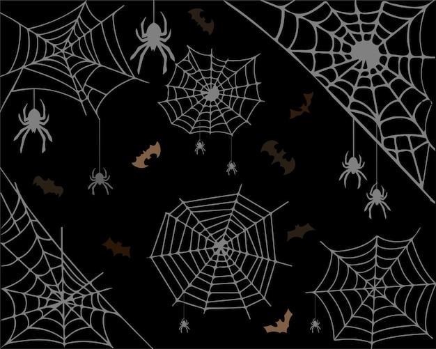 Fond d'halloween avec des araignées, des toiles d'araignées, des chauves-souris sur un motif de fond noir