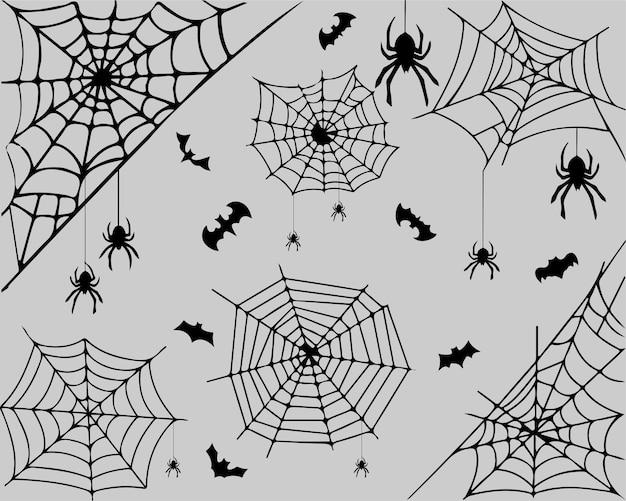 Fond d'halloween avec des araignées, des toiles d'araignées, des chauves-souris sur un motif gris, imprimé pour les étuis de téléphone