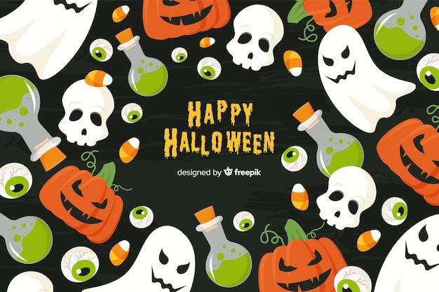 Fond d'halloween au design plat