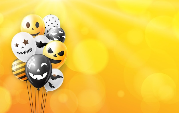 Fond d'halloween avec des ballons colorés. illustration vectorielle