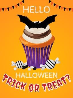 Fond d'halloween avec des bonbons ou des friandises? texte.