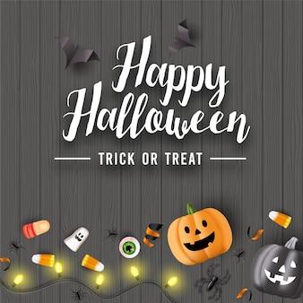 Fond d'halloween avec des bonbons, des globes oculaires, des araignées, des chauves-souris et des citrouilles sur une table en bois. vecteur