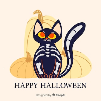 Fond d'halloween avec chat noir