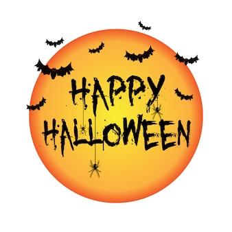 Fond d'halloween avec des chauves-souris et des araignées