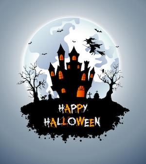 Fond d'halloween avec cimetière, chauves-souris et château