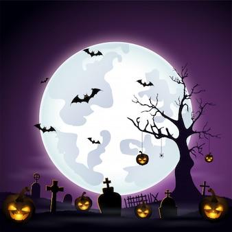 Fond d'halloween avec cimetière et chauves-souris