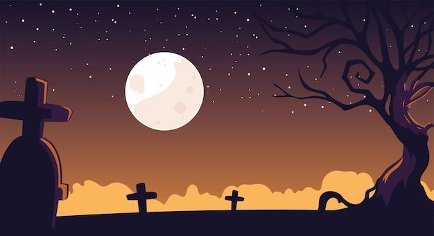 Fond d'halloween avec cimetière fantasmagorique