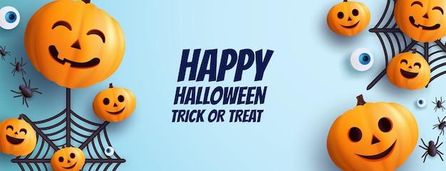 Fond d'halloween avec citrouille 3d et toiles d'araignée