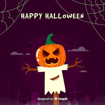 Fond d'halloween avec citrouille effrayant