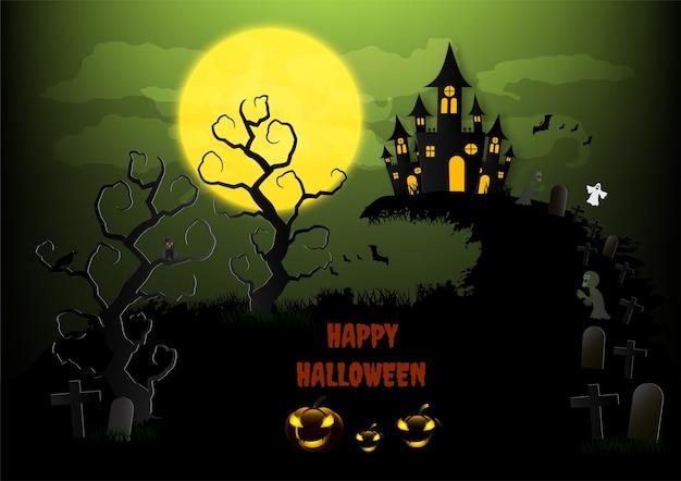 Fond d'halloween à la citrouille et à la pleine lune