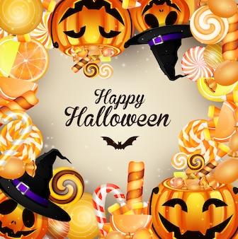 Fond d'halloween avec des citrouilles et des bonbons