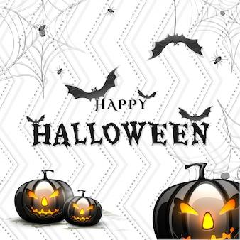 Fond d'halloween avec des citrouilles effrayantes.