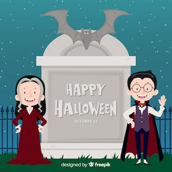 Fond d'halloween avec couple de vampires
