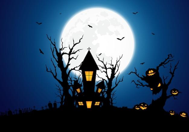 Fond d'halloween décoré avec un château