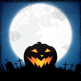 Fond d'halloween décoré de citrouille et d'araignée