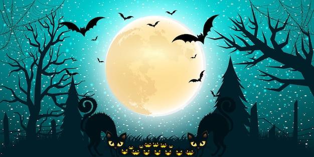 Fond d'halloween avec un dégradé de lumière au design plat