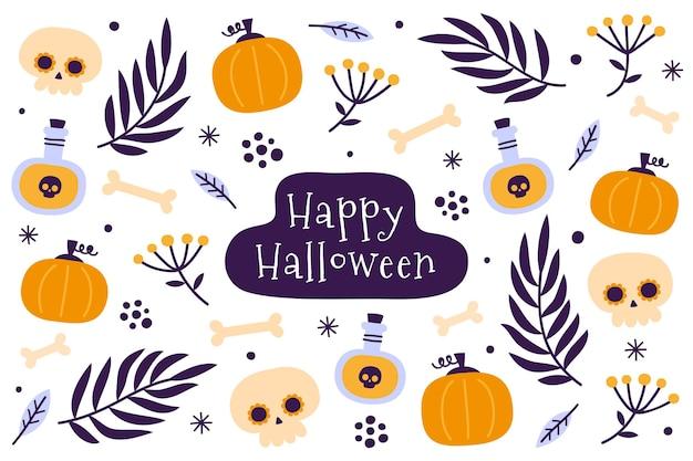 Fond d'halloween design plat avec des citrouilles