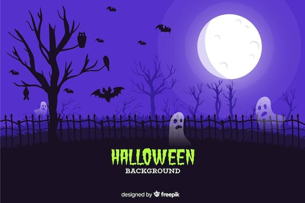 Fond de halloween design plat avec des fantômes