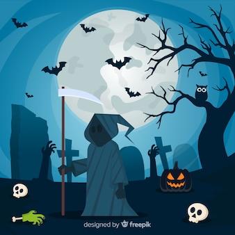 Fond d'halloween avec un design plat
