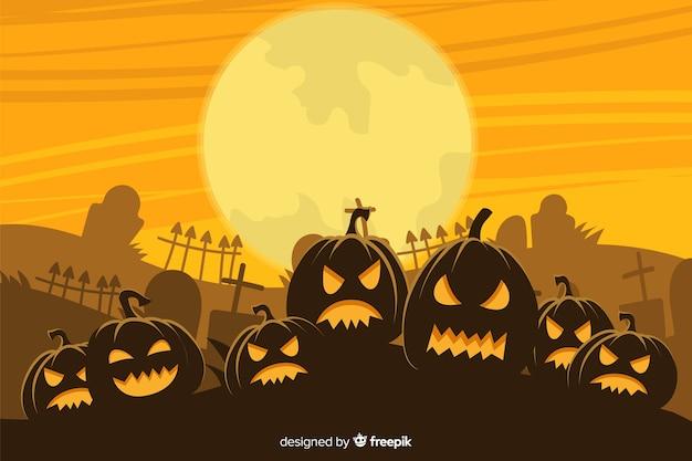 Fond d'halloween dessiné à la main avec l'armée de citrouilles
