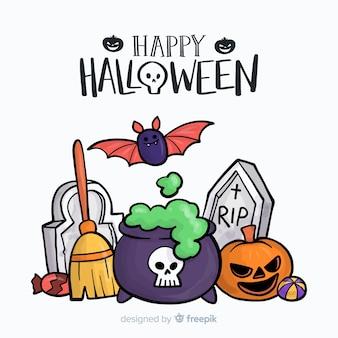 Fond de halloween dessiné main belle