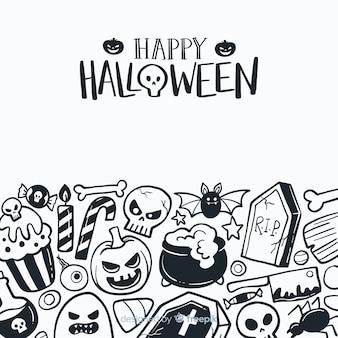 Fond d'halloween dessiné main classique