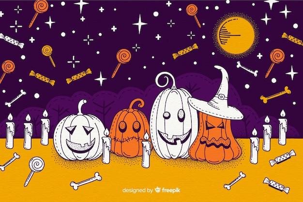 Fond d'halloween dessiné main coloré
