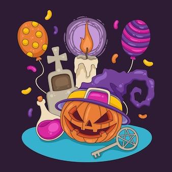 Fond d'halloween dessiné à la main