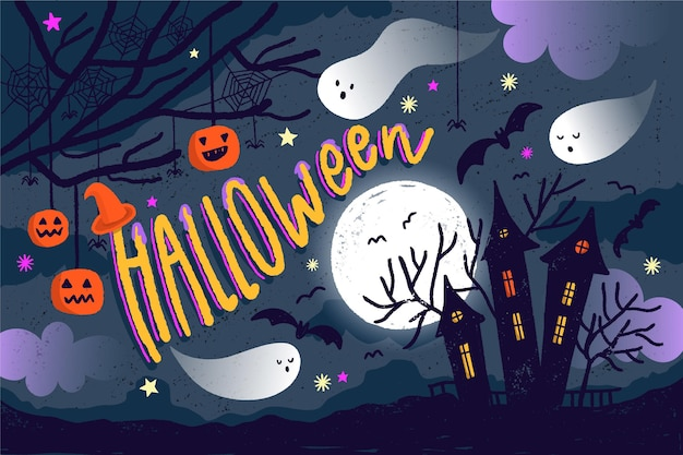 Fond d'halloween dessiné avec maison effrayante