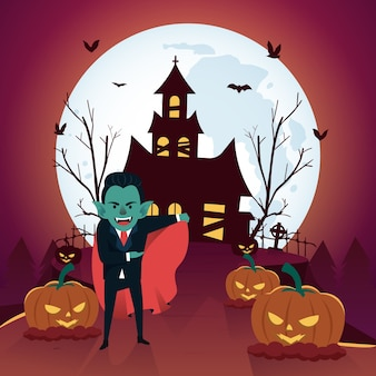 Fond d'halloween avec dracula et maison hantée