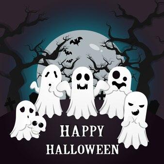 Fond halloween effrayant avec des fantômes blancs dans un cimetière.