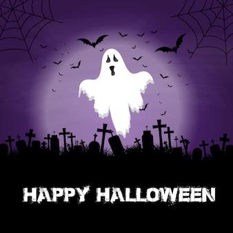 Fond d'halloween avec fantôme et cimetière