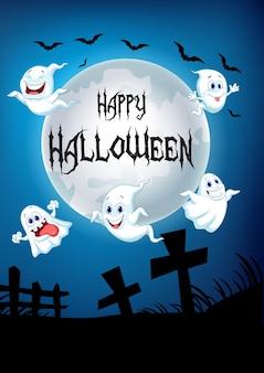 Fond d'halloween avec un fantôme heureux volant au-dessus d'un cimetière