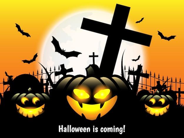 Le fond d'halloween avec halloween arrive! texte.