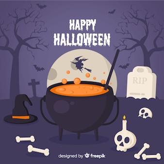 Fond de halloween heureux avec le chaudron de sorcière