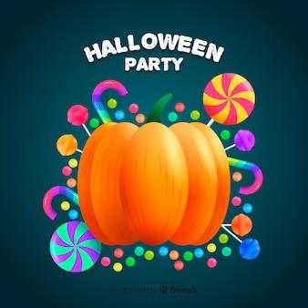 Fond de halloween heureux avec citrouille et bonbons