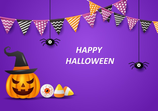 Fond d'halloween heureux avec des drapeaux illustration vectorielle