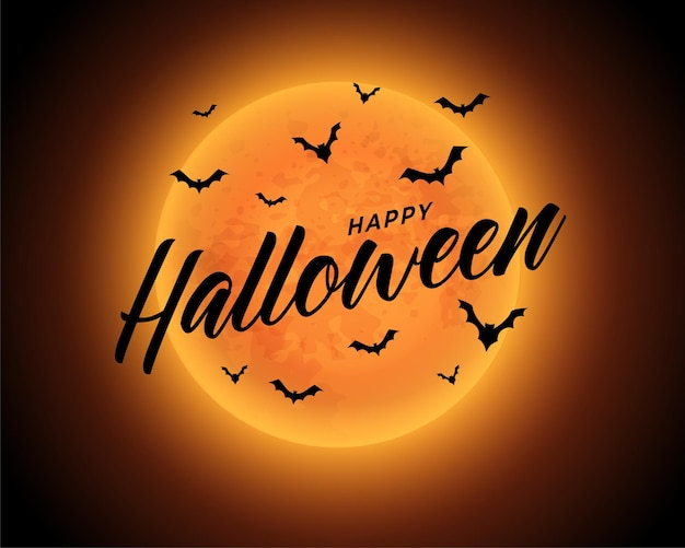 Fond d'halloween heureux de lune orange avec des chauves-souris volantes