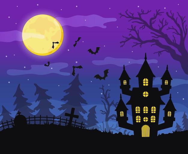 Fond d'halloween heureux avec une maison effrayante et une forêt effrayante
